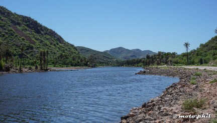 Mulege has a river and many palm trees