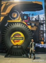 moto.phil standing next to a huge mining tyre at Tracsa in Guadalajara