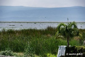 Lago de Chapala with a low water level seen from El Palmar Restaurante