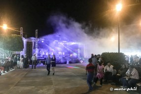 Stage with smoke and lights on the main square of Santa Elena