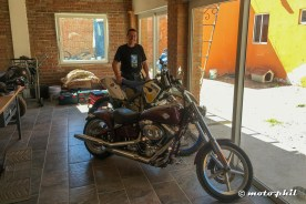 Ulli presenting his dirtbike and chopper