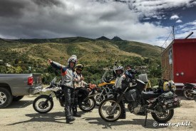 "GS riders ""Arrieros"" posing with their bikes in front of Cerro del Cubilete"