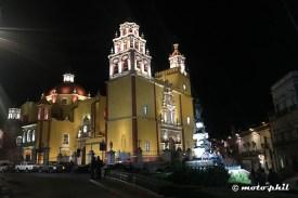 Basilica Colegiata de Nuestra Señora de Guanajuato in Guanajuato by night seen from Plaza de la Paz