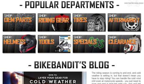 http://www.bikebandit.com/ for motorcycle parts, full face helmets & more