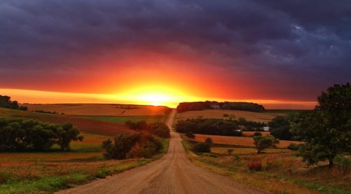 Sunset on road