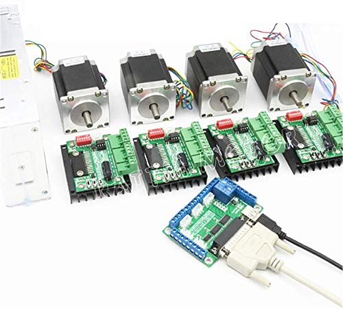 3 Axis Stepper Motor CNC Router Kit Nema23 425oz-in 112mm Dual Shaft+CW5045 Driver 4.5A 256 microstep+400W 36V Power Supply CNC Controller Kit for Engraving Lathe Plasma Milling Drilling Machine
