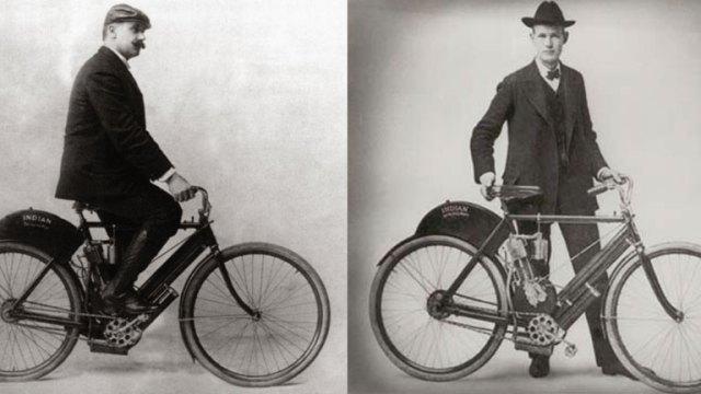 George M. Hendee ve Carl Oscar Hedström Indian Motorcycle® ilk prototip ile