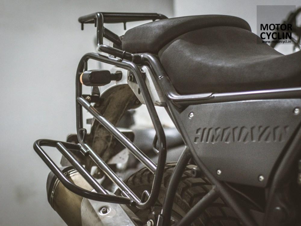 Silencer clearance on Himalayan saddle bag stays