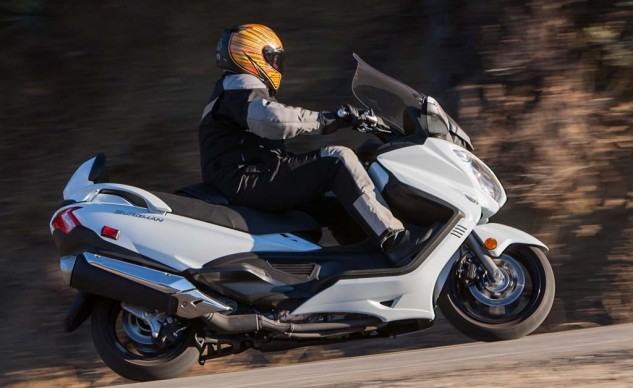 Suzuki's Burgman handled surprisingly well, but it labored under the weight of its MSRP in the objective scoring.