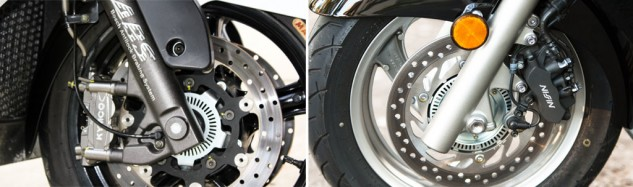 The MyRoad and the Silver Wing represent the breadth of braking technology on the super scoots: The Kymco (left) features radial-mount calipers on dual discs using braided-steel lines, while the Honda gets by with a single disc plus linked brakes.