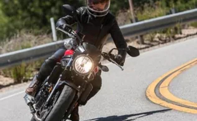 Female rider on Suzuki SV650