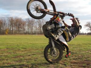 With gobs of smooth power, a great juice clutch and excellent brakes the KTM 530 EXC may be the 'easiest to wheelie' dirt bike ever. That's gotta' count for bonus points!