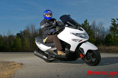 Kymco's flagship Xciting 500 Ri has optional ABS and its 498.5cc mill is the largest in the Kymco lineup.