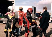 MO Editor Brent Plummer, AMA Pro Thunder and 250 Grand Prix Champions Paul Harrell & Roland Sands get ready to burn it up.
