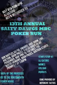 SaltyDawgs 13th Annual Poker Run - Portsmouth Fisher House @ AJ Gators Aragona