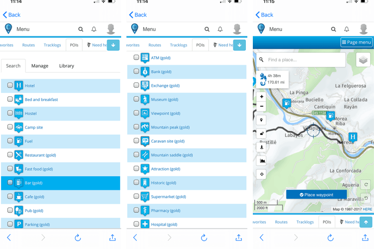 Selecting POI's - motorcycle ride route planner
