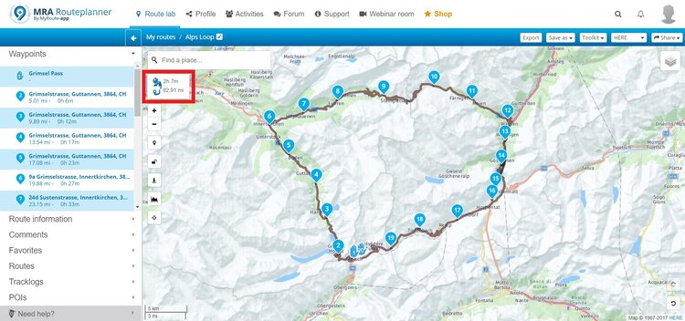 grimsel, susten and furka pass route - motorcycle route planner