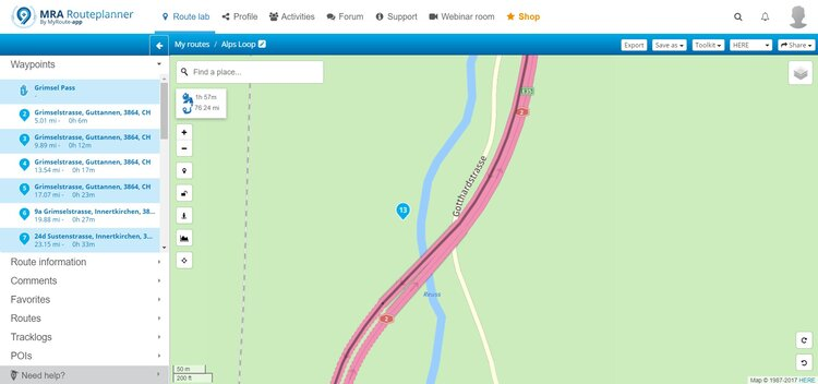 moving misplaced waypoints - motorcycle route planner