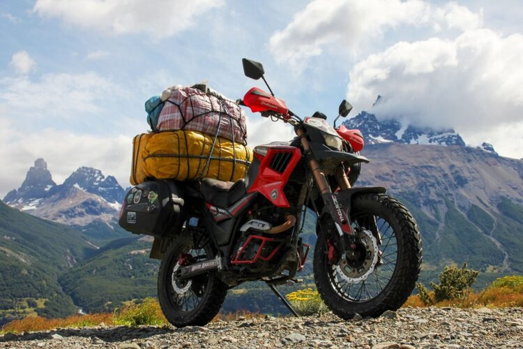 small capacity motorcycle off-road fully ladened - long-distance motorcycling
