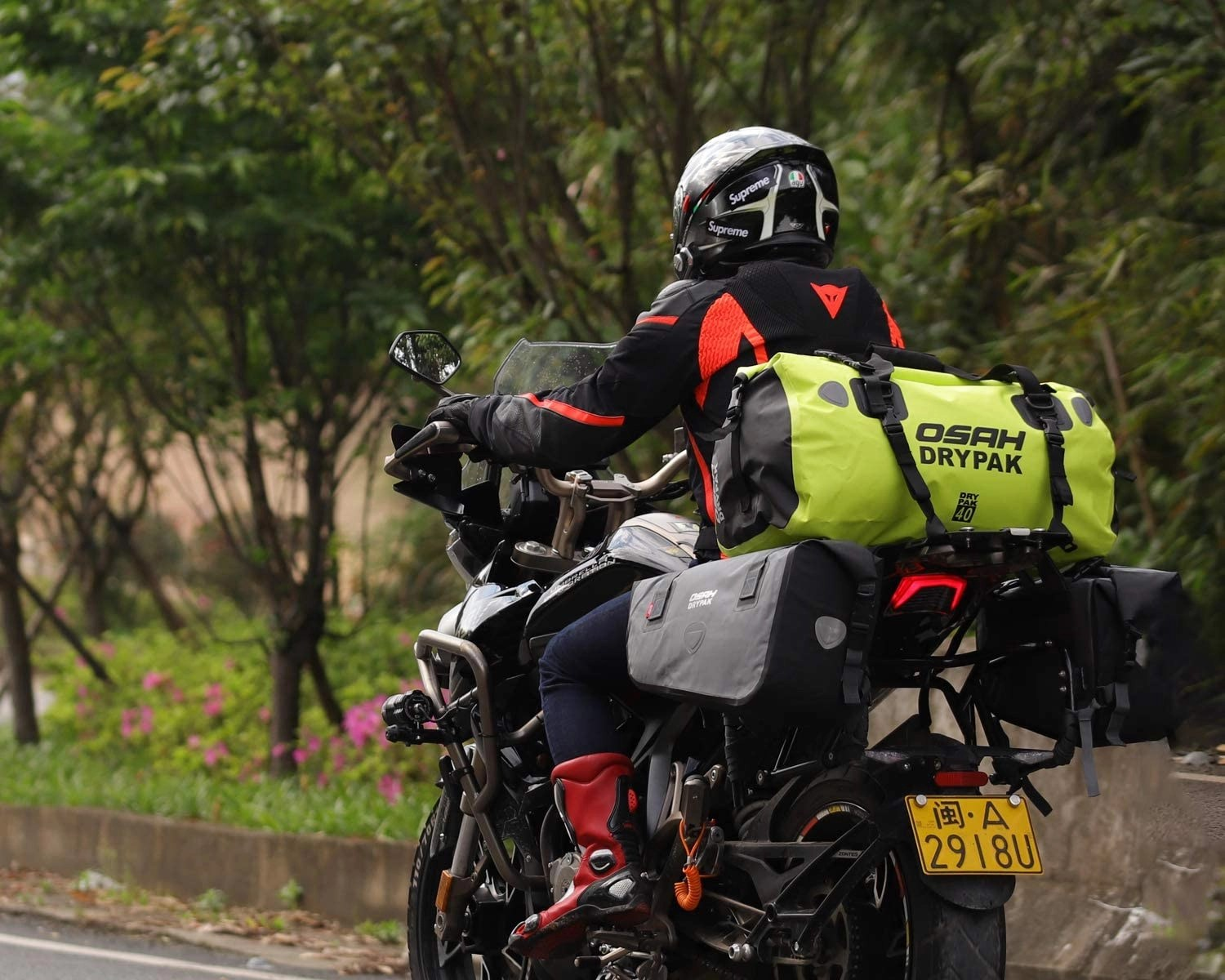 motorcycle touring roll bag title