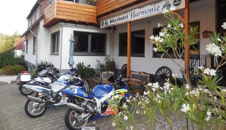 biker hotel harmonie with motorcycles