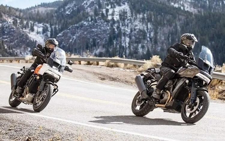 two harley davidson pan americas on mountain road