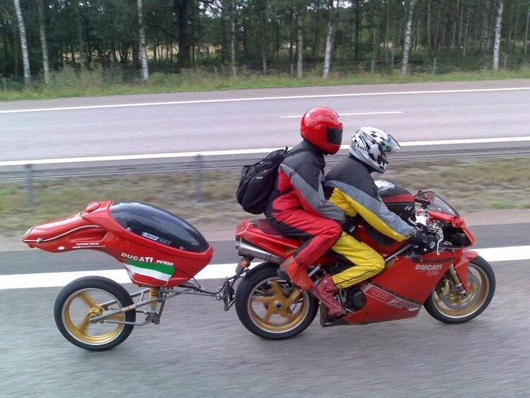 tow-behind trailer for motorcycle - ducati sportsbike