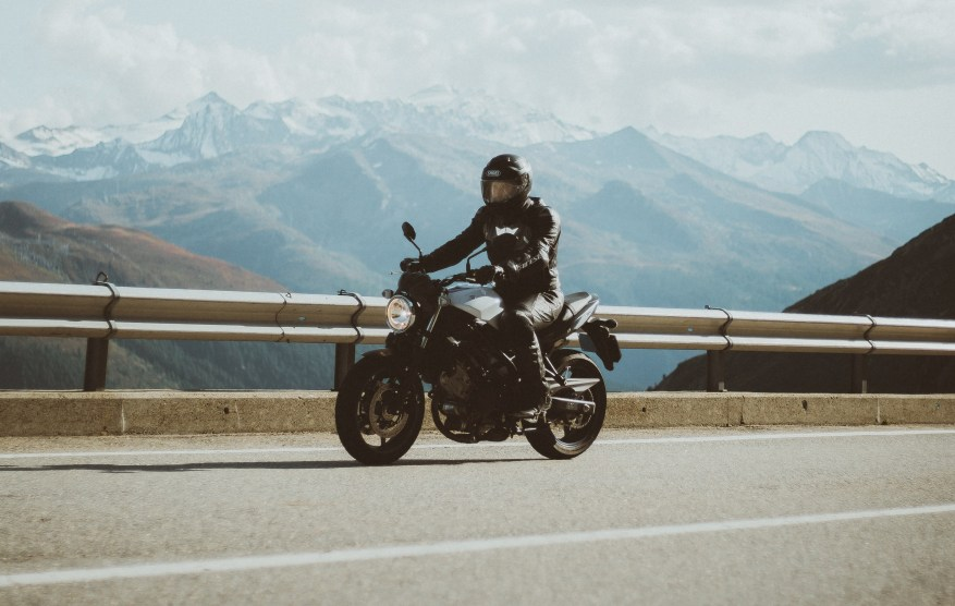 motorcycle on mountain pass