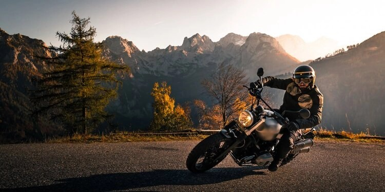 motorcycle mountain road sunset