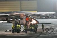 The Solar Impulse 2 prepares to take off at Al Bateen airport in Abu Dhabi