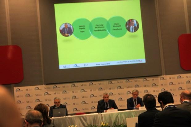 Da sx: Pier Luigi  Del Viscovo (Centro Studi Fleet&Mobility), Valerio Papale (Agos, Direttore Automotive) e Pietro Piccinetti (Amministratore Delegato  Fiera di Roma)