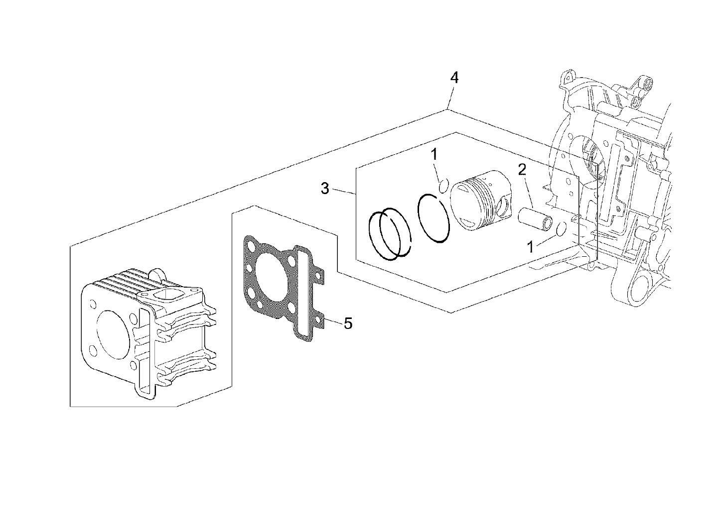 Gruppo pistone pleto di spinotto fasce e fermi ex codice ap8551130 motore piaggio 100cc