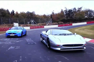 Jaguar XJ220 vs Jaguar XKR-S on the Nürburgring – Video