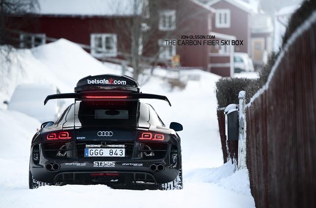 Jon Olsson shows off his new Audi R8 Snow-Mobile