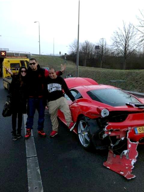 Afrojack Ferrari 458 Italia crash