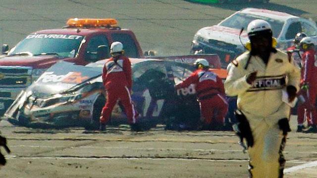 Joey Logano Denny Hamlin crash