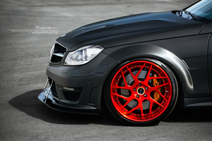 "Mercedes Benz C63 AMG on 20"" Brixton Forged CM7 Targa Series wheels finished in Carbon Red"