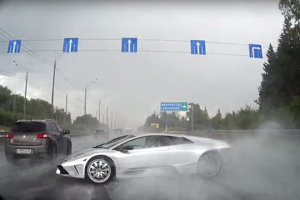 Friday FAIL: Lamborghini Murcielago Crash in Rain