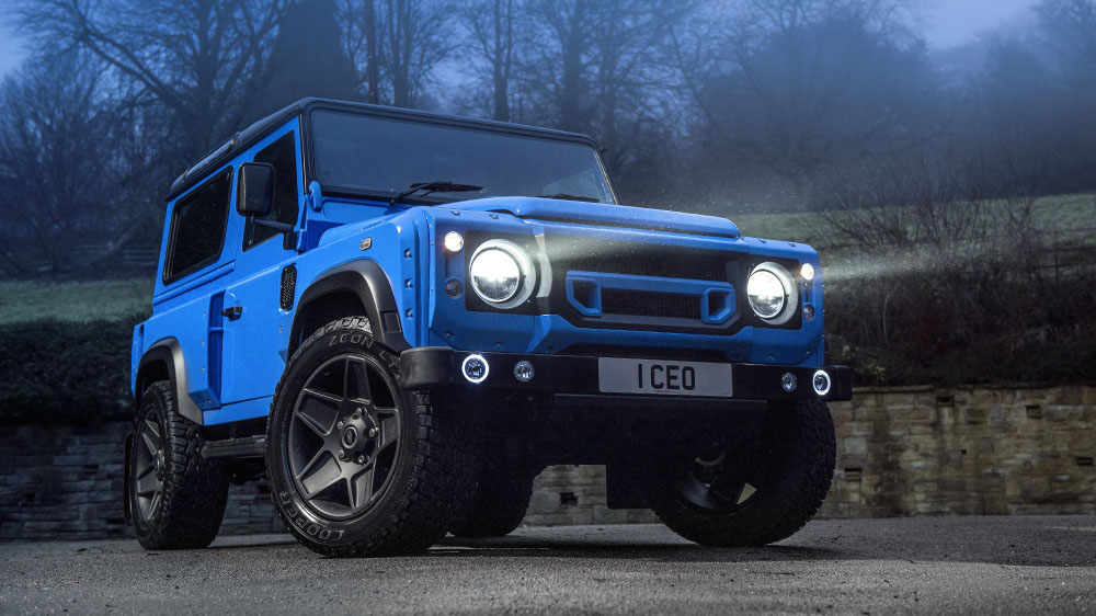 """French Racing Blue Chelsea Truck Company Land Rover Defender 90 """"The End"""" Edition"""