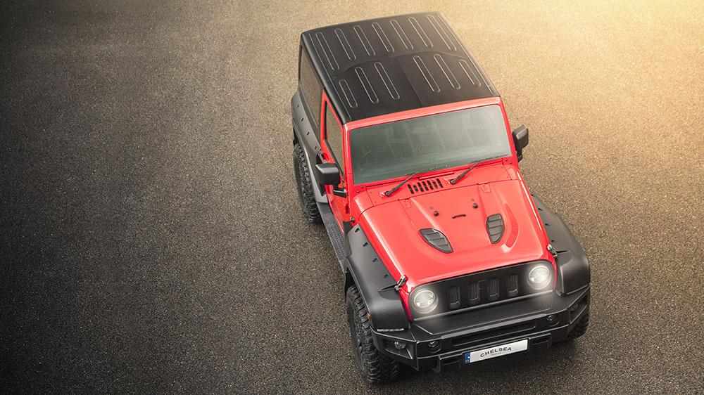 Firecracker Red Chelsea Truck Company Jeep Wrangler Sahara 3.6 Wide Track Black Hawk