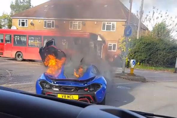 McLaren P1 Burns in UK