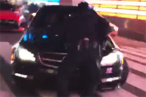 Mercedes-Benz C63 AMG Driver hits NYPD Officer in Times Square