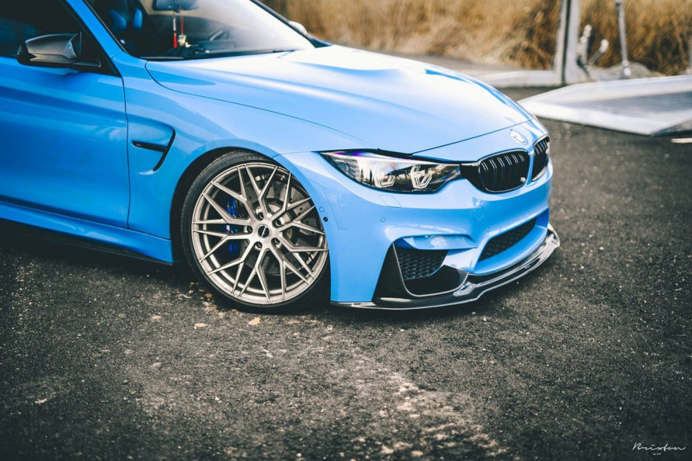 Yas Marina Blue BMW M4 with Brixton Forged CM10 Radial Forged+ Wheels