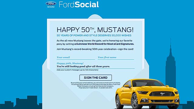 Ford Mustang 50th Birthday Card