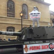'The Stig' delivers Jeremy Clarkson petition to the BBC... in a tank