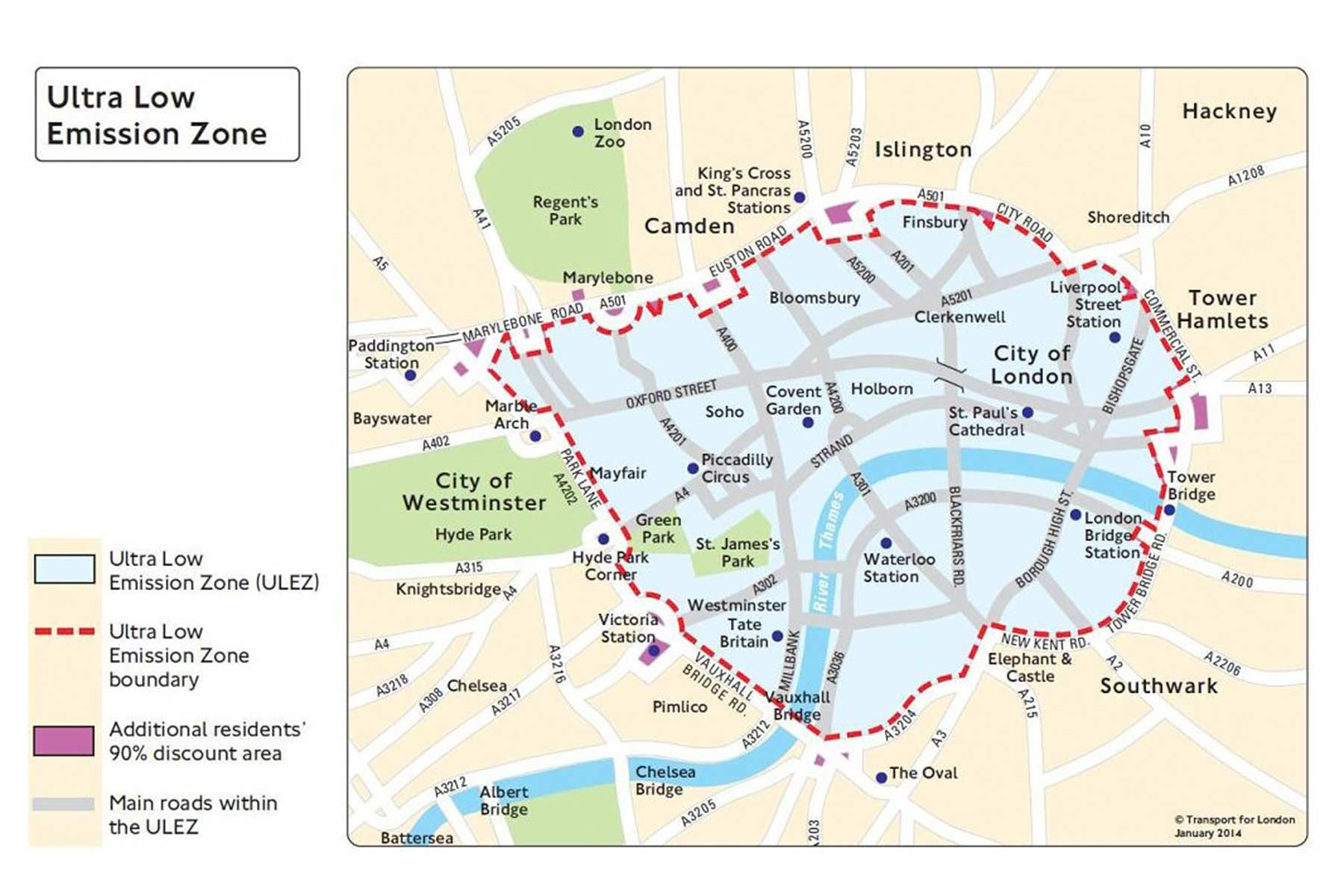 London Border Map.London Ulez Map Motoring Research