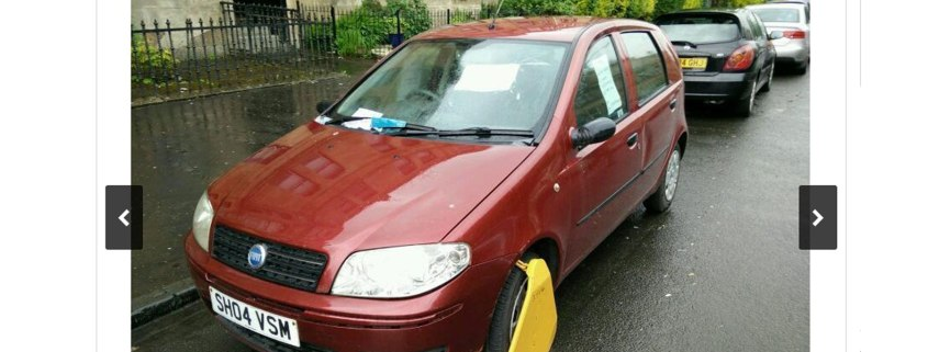 £500 Fiat Punto for sale on Gumtree –but you'll have to remove the clamp yourself