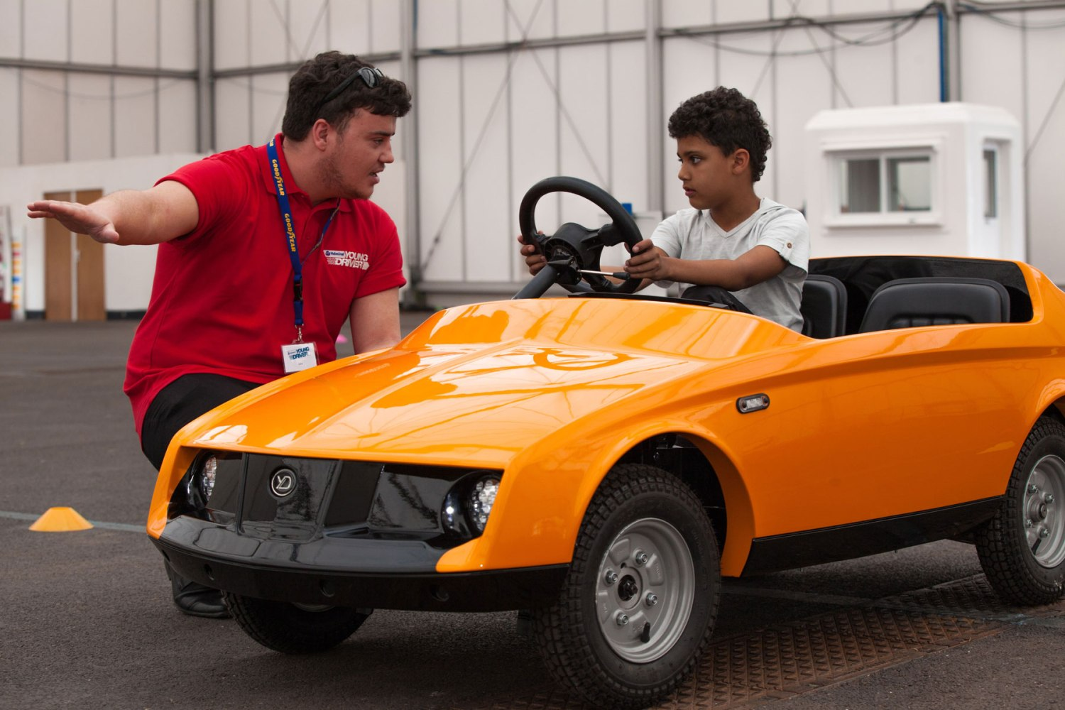 This electric car can be driven by a five-year-old