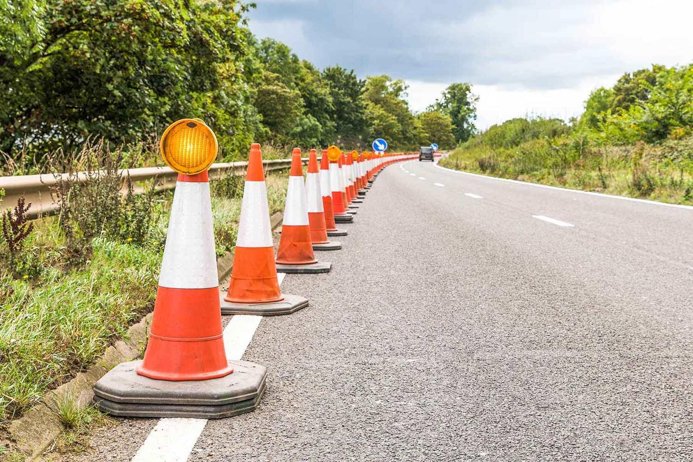 Motorway roadwork cones