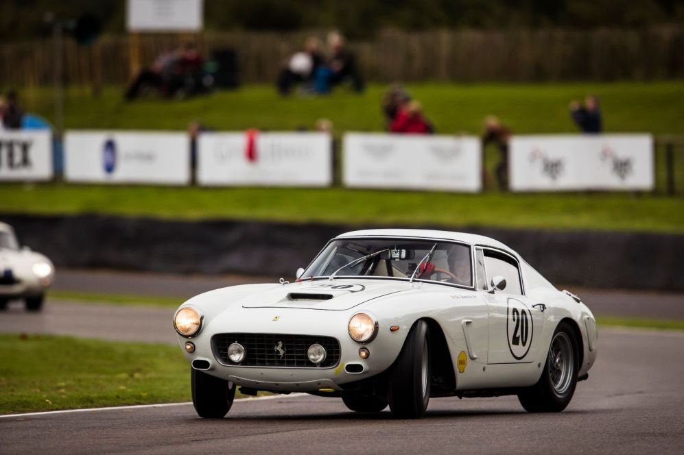A Ferrari 250 GT SWB being driven on the absolute limit. Taken by Drew Gibson for Goodwood